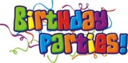 The word Birthday Party is bubble letters